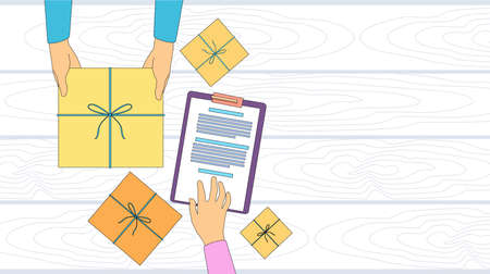 receiving: Delivery Service Package Box Receiving Courier Hands Customer Sign Up Empty Copy Space Thin Line Vector Illustration