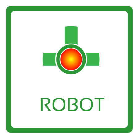 application button: Modern Robot Application Button Icon Banner Flat Vector Illustration Illustration
