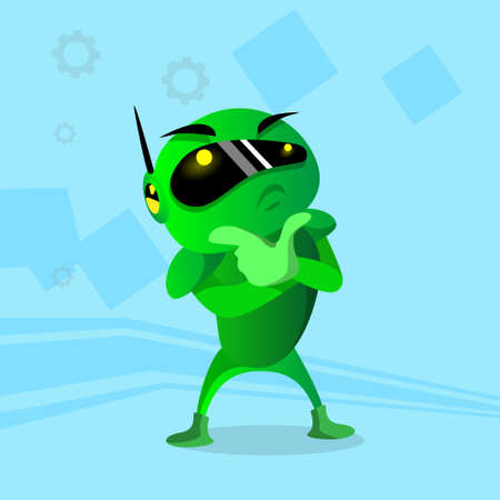 pondering: Modern Green Robot Holding Hand Chin Pondering Doubtful Flat Vector Illustration