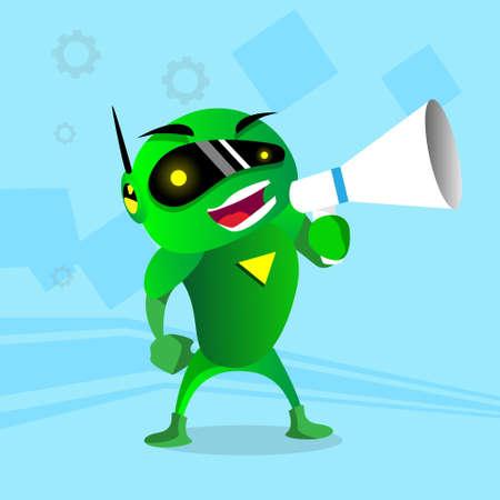 loud speaker: Modern Green Robot Hold Megaphone Loud Speaker Flat Vector Illustration