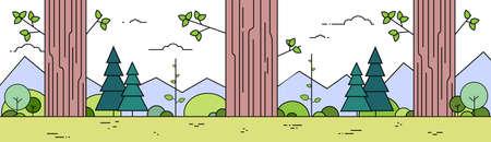 grass line: Trees Summer Forest Landscape Thin Line Mountain Spring Woods Green Grass Banner Vector Illustration Illustration