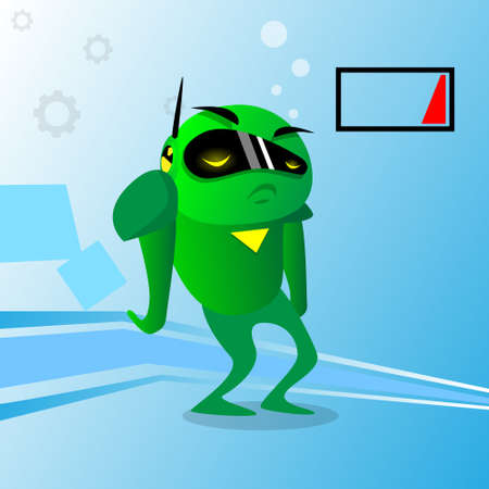 unplug: Green Robot Charge Problem No Energy Empty Low Battery Flat Vector Illustration