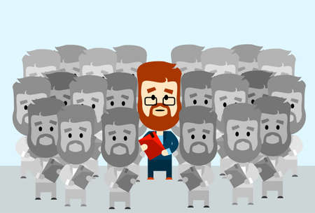 individual: Businessman Leader Stand Out From Crowd Individual With People Group Business Team Concept Vector Illustration