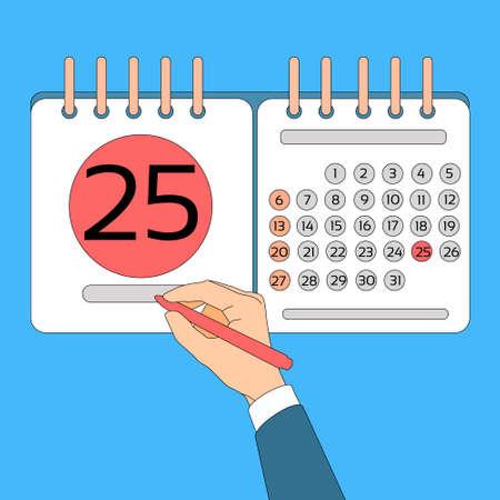statements: Calendar Hand Hold Pen 25 Last Financial Statements Date Deadline Concept Vector Illustration