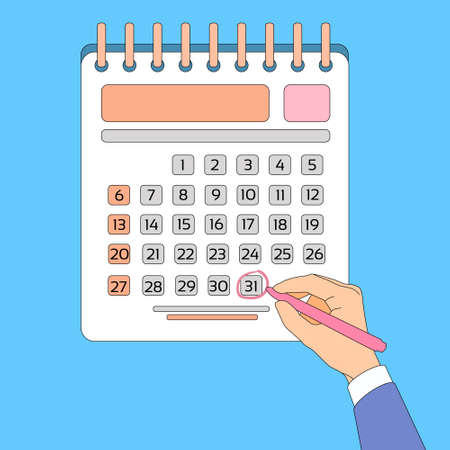 last day: Calendar Hand Draw Pen Red Circle Date Last Day Month Deadline Flat Vector Illustration