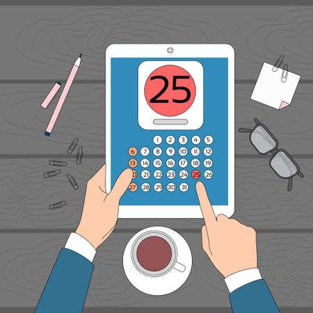 statements: Calendar Hand Hold Tablet Computer Digital Device 25 Last Financial Statements Date Month Deadline Vector Illustration