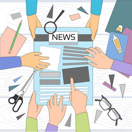 article: News Editor Desk Workspace, Making Newspaper Creating Article Writing Journalists Crew, Hands Team Group Vector Illustration