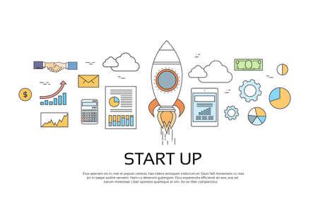 Start Up Concept nouveau plan d'affaires Illustration Vecteur