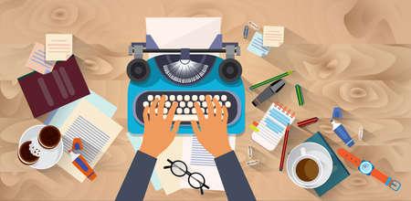 Handen typen tekstschrijver Author Blog typewrite houten structuur Desk Top camerastandpunt Flat Vector Illustration
