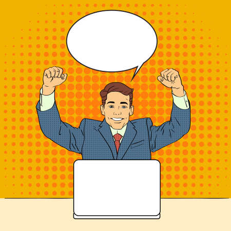 chat up: Business Man Success Celebrating Hand Up Sit Laptop Computer Pop Art Colorful Retro Style Chat Bubble Flat Vector Illustration Illustration