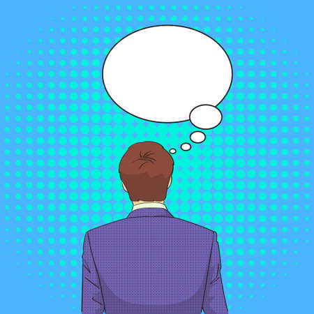 ponder: Business Man Standing Back Ponder Thinking Pop Art Retro Style Chat Bubble Vector Illustration
