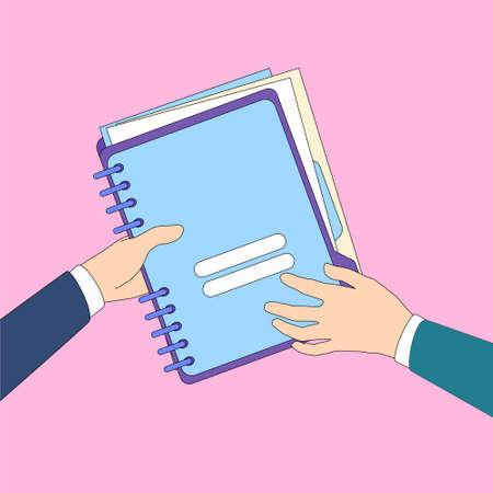 share information: Hands Give Folder Document Papers, Concept Businessmen Share Information Data Icon Flat Vector Illustration Illustration