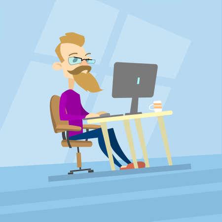 Business Man Hipster travail sur ordinateur, le type de bureau Casual Blogger, Freelancer Flat Vector Illustration