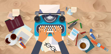 typewrite: Hands Typing Text Writer Author Blog Typewrite Wooden Texture Desk Top Angle View Flat Vector Illustration Stock Photo