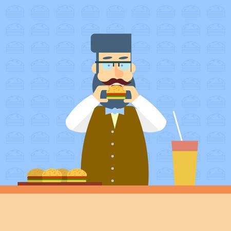 break fast: Business Man On Break Eat Fast Food Burger Sandwich Lunch Flat Vector Illustration