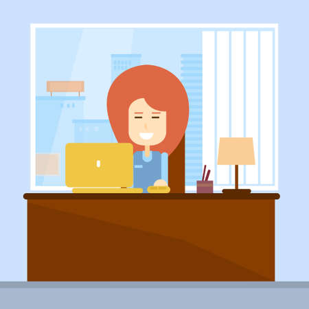 working place: Business Woman Sitting Desk Office Working Place Laptop Flat Vector Illustration