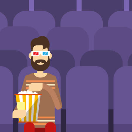 watching movie: Man Sit Watching Movie In Cinema 3d Glasses With Popcorn Flat Vector Illustration Illustration