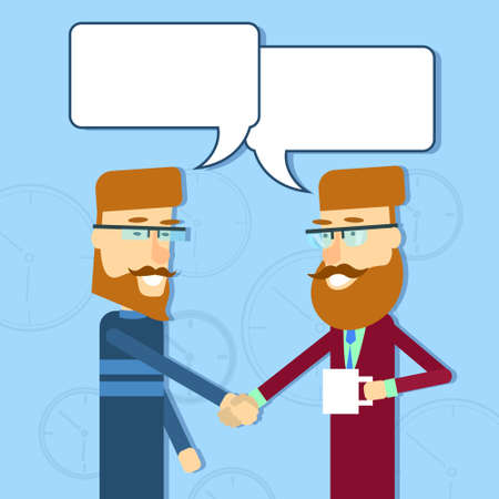 casual business man: Two Casual Business Man Greeting Shake Hands With Chat Bubble Flat Vector Illusatrtion