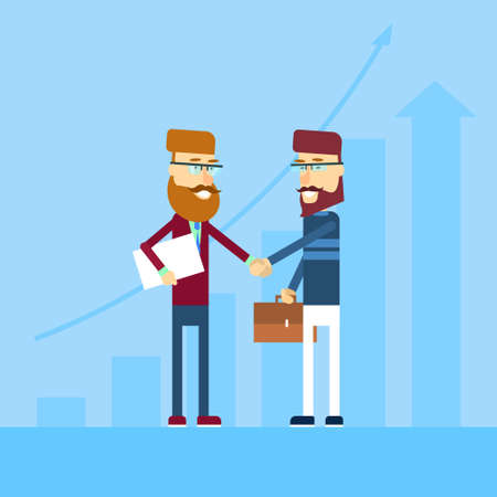 casual business man: Two Casual Business Man Shake Hands Greeting Agreemant Concept Flat Vector Illustration