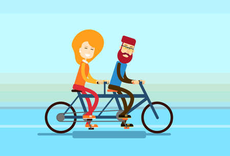 tandem bicycle: Couple Man Woman Ride Tandem Bicycle Flat Vector Illustration