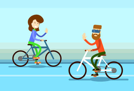 towards: Couple Man Woman Ride Towards Bicycle Wave Hand Greeting Flat Vector Illustration
