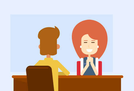 client meeting: Business Meeting Office Woman Sit Table With Client Flat Vector Illustration Illustration