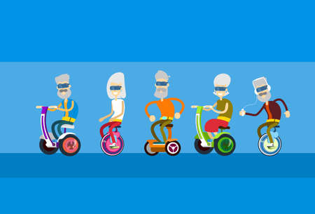 motor scooter: Senior Man Woman Group Ride Segway Motor Scooter Flat Vector Illustration