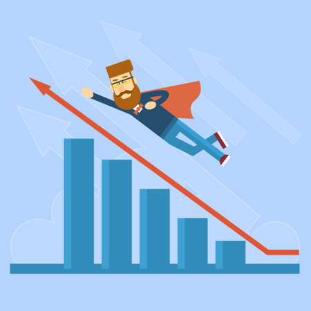 fly up: Businessman Super Hero Fly Up Financial Graph Red Arrow Flat Vector Illustration