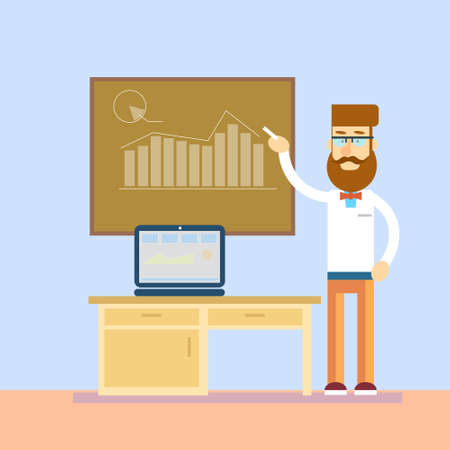 professor: Business Man In Class Board Laptop Computer Teacher Seminar Training Conference Presentation Financial Chart Vector Illustration