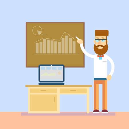 profesor: Gráfico del ordenador portátil Junta En Clase hombre de negocios ordenador Formación del Profesorado Presentación del Seminario Conferencia Financiera ilustración vectorial