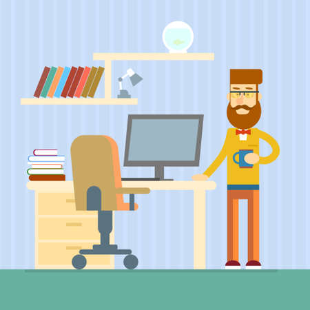 casual business man: Casual Business Man Desk Office Working Place Flat Vector Illustration