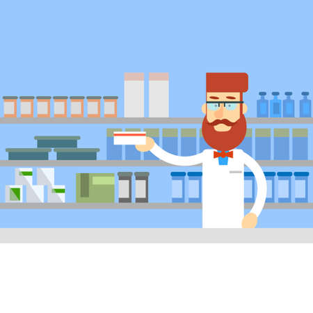 druggist: Pharmacy Worker Hold Medicine Pills Tablets Drugstore Interior Male Pharmacist Flat Illustration Illustration