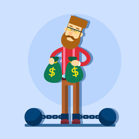prisoner of the money: Business Man Hold Money Bag Chain Bound Legs Tax Concept Flat Illustration