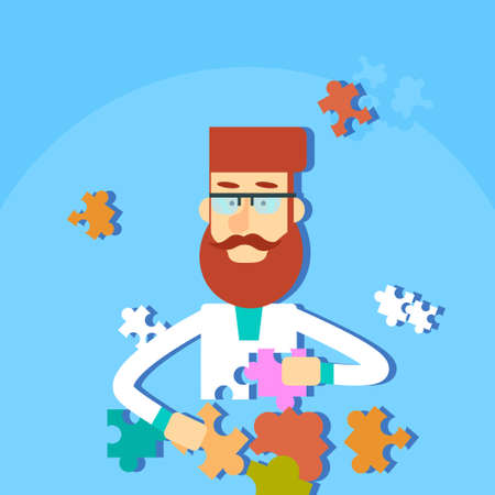 thinking link: Man Solving Puzzle Task Flat Illustration Illustration