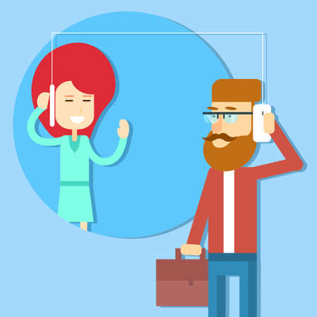 smart phone woman: Business Man Speak Cell Smart Phone With Woman Connection Concept Flat Illustration