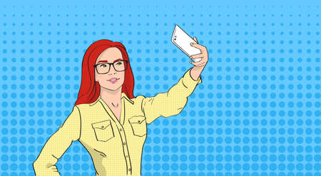 smart phone woman: Woman In Glasses Taking Selfie Photo On Smart Phone Pop Art Colorful Retro Style Illustration
