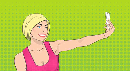 smart girl: Blonde Woman Taking Selfie Photo On Smart Phone Girl Smile Pop Art Colorful Retro Style Illustration