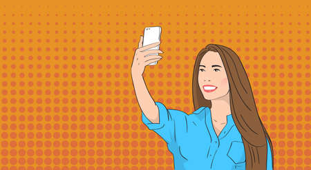 smart phone woman: Asian Woman Taking Selfie Photo On Smart Phone Pop Art Colorful Retro Style Illustration