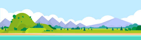 風景: 山脈の夏風景水平バナー イラスト