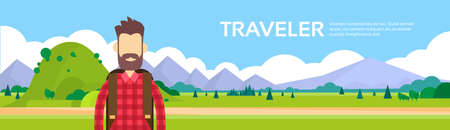 wanderer: Traveler Man Hiking Over Mountain Background Outdoor Tourism Banner Illustration