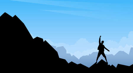 wanderer: Traveler Man Silhouette Stand On Mountain Rock Empty Copy Space Illustration