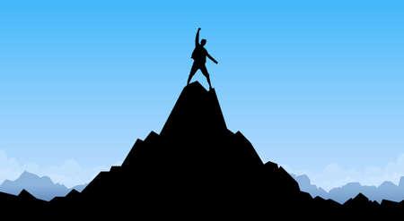 Silueta del hombre que viaja Soporte para la roca de la montaña Pico del escalador de vacío de la copia espacio Ilustración Ilustración de vector