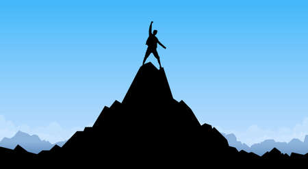 Traveler Man Silhouette Stand Top Mountain Rock Peak Climber Empty Copy Space Illustration Vettoriali
