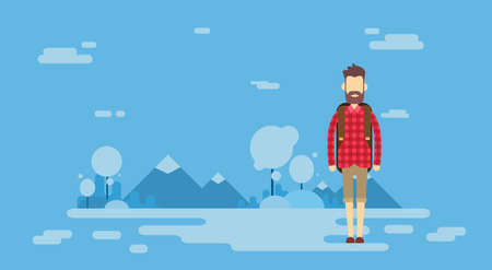 wanderer: Traveler Man Outdoor Hiking Over Mountain Background Banner Illustration Illustration