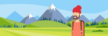 peak hat: Traveler Man Hiking Over Mountain Background Outdoor Trekking Tourism Banner Illustration Illustration