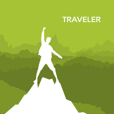 top of mountain: Traveler Man Silhouette Rock Climber Stand On Top Mountain Peak Green Background Illustration