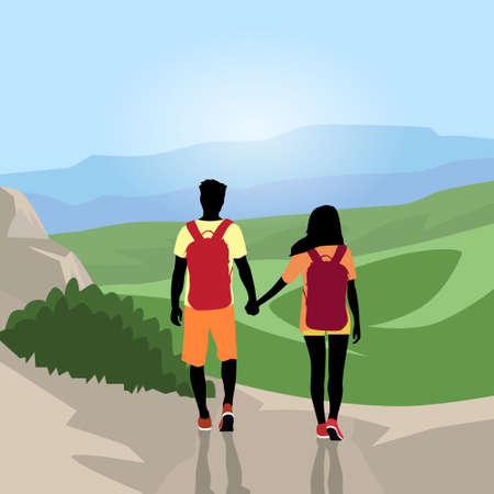 wanderer: Traveler Couple Silhouette Hiking Mountain Top Valley Man Woman Rear View Nature Background Illustration