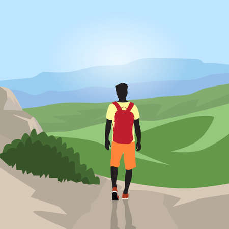 wanderer: Traveler Man Silhouette Hiking Mountain Top Valley Rear View Nature Background Illustration