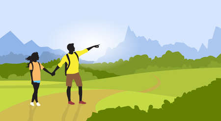 couple hiking: Couple Hiking Man Woman Silhouette Traveler Mountain Road Path Point Hand Green Valley Nature Background Illustration