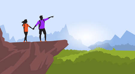 couple hiking: Couple Hiking Man Woman Silhouette Traveler Stand On Mountain Rock Cliff Point Hand Green Valley Nature Background Illustration